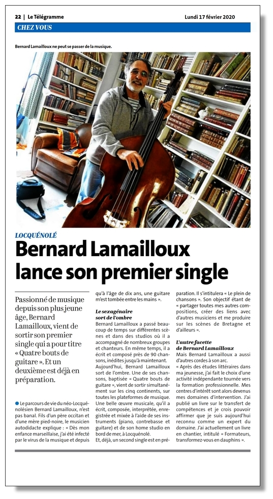 """article du journal Le Télégramme (17 février 2020) à propos de """"Quatre bouts de guitare"""", le premier single de Bernard Lamailloux"""