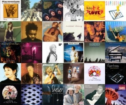 Influences musicales de Bernard Lamailloux (mosaïque de pochettes d'albums)