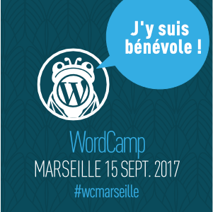 Badge de bénévole au WordCamp Marseille 2017